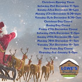 Christmas Opening Times 2019